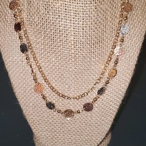 Two-Tone Double Strand Necklace